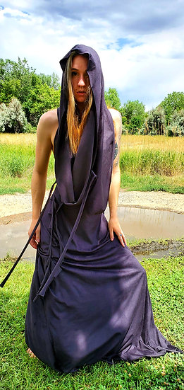 Black Vegan Suede Gown and Hood Set