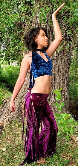 Fuchsia Velvet Full Tie Side Belles Set with Alien Teal Velvet Crop Top