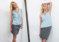 גופיית ג'ינס טנסל מודפסת עם צווארון מסיני וכיס בצד אחד-מיכל אמה