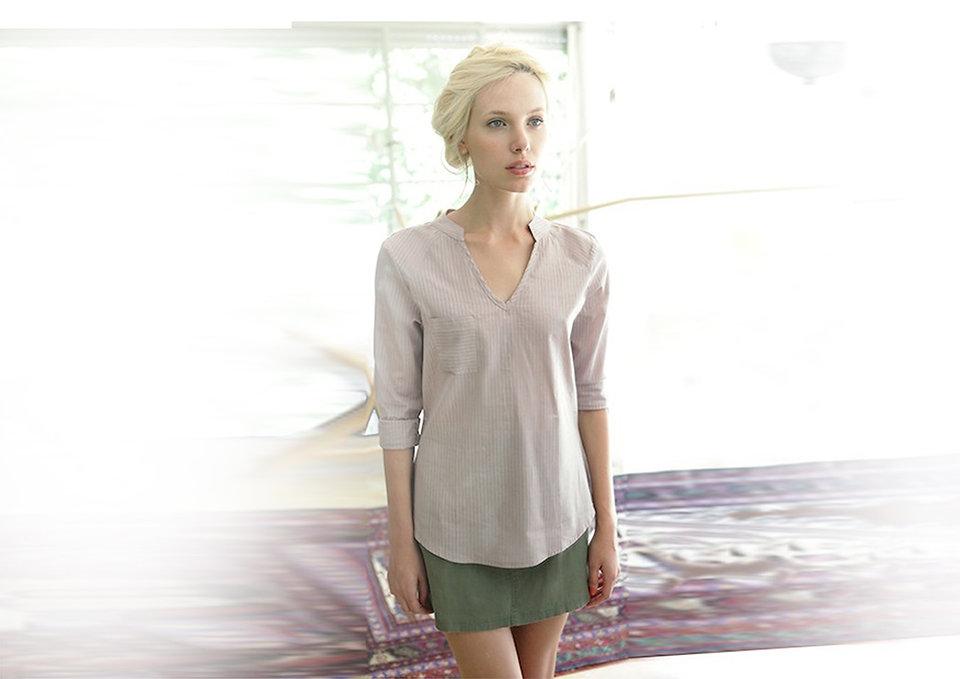 חולצת וואל כותנה וחצאית מבד מרוח - מיכל אמה