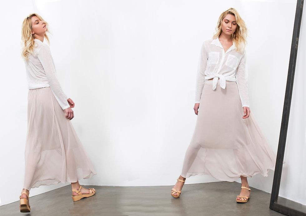 חצאית שיפון מקסי ורודה