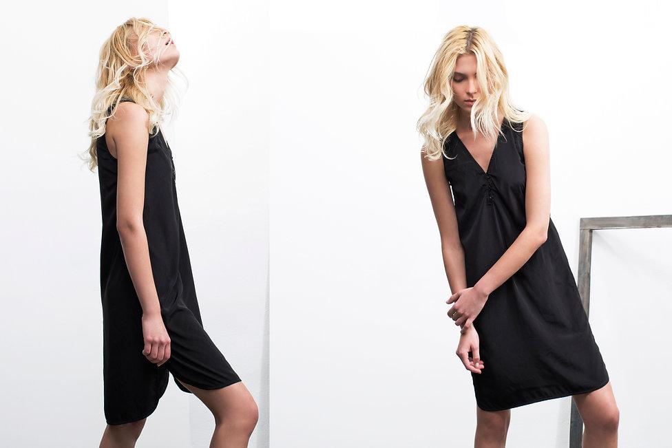 שמלה שחורה עם כפתורים