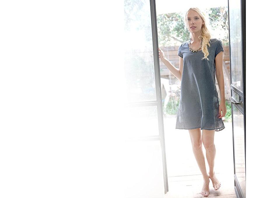 שמלת כותנה בצביעה ידנית - יכל אמה