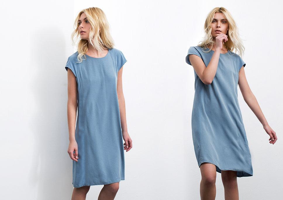שמלה  מבד ויסקוזה בגזרת קלוש