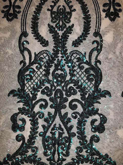 Sequins Mesh Dk Green 145350