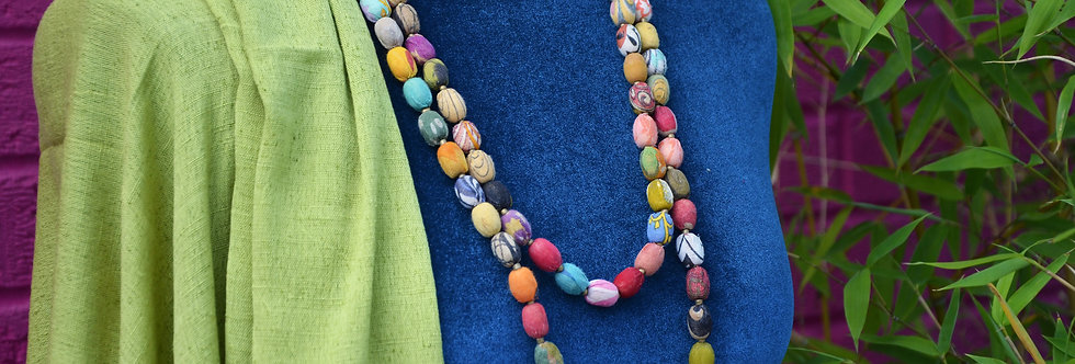Long Necklace with Recycled Fabric Beads