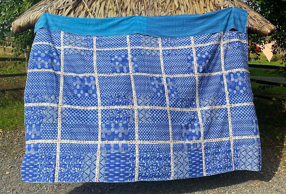 Handmade Indian Kantha Blanket - Blue with Roses