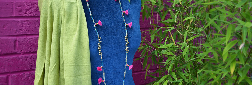 Bell and Tassel Necklace -Turquoise and Pink