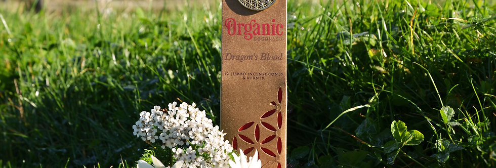 Organic Goodness 12 Incense Cones & Earthen Burner - Dragons Blood