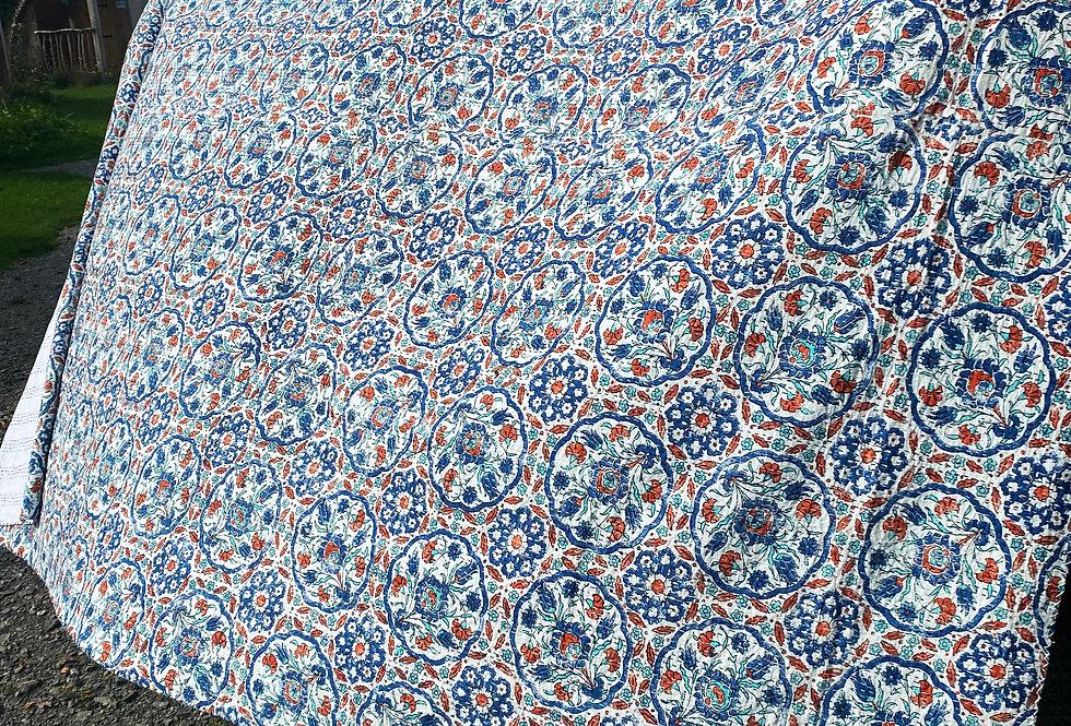 Handmade Indian Kantha Blanket - White and Blue