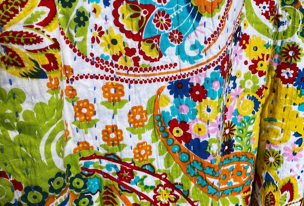 Handmade Kantha Robe - White Paisley
