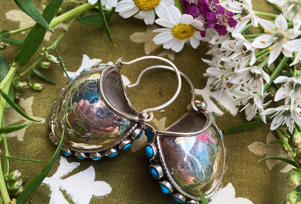 Tibetan Bucket Earrings - Turquoise