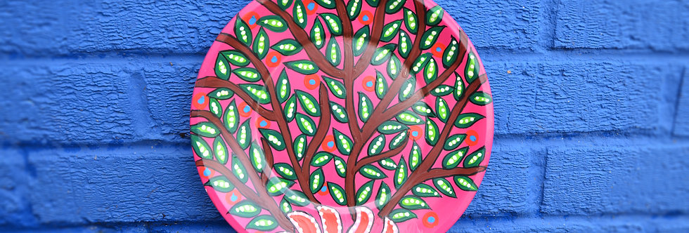 Painted Tin Plates - Pink