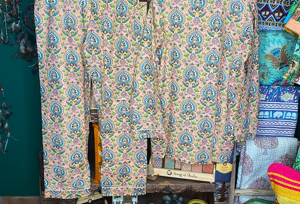 Handmade Indian Pjs - Peach with Blue Pattern
