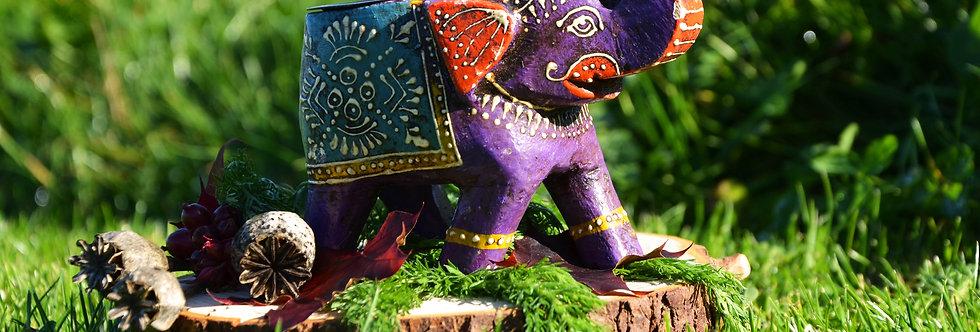 Hand Painted Indian Elephant Tealight Holder - Purple