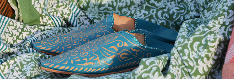 Moroccan Decorative Babouche Slippers Turquoise