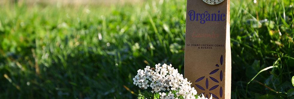 Organic Goodness 12 Incense Cones & Earthen Burner -Lavender