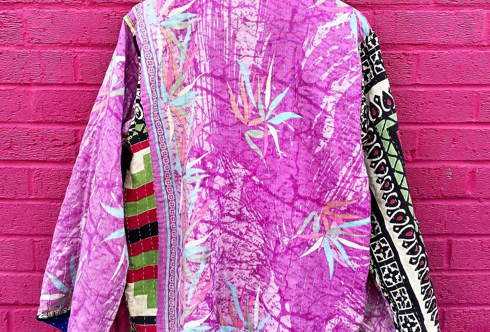 Handmade Reversible Kantha Jacket - Blue