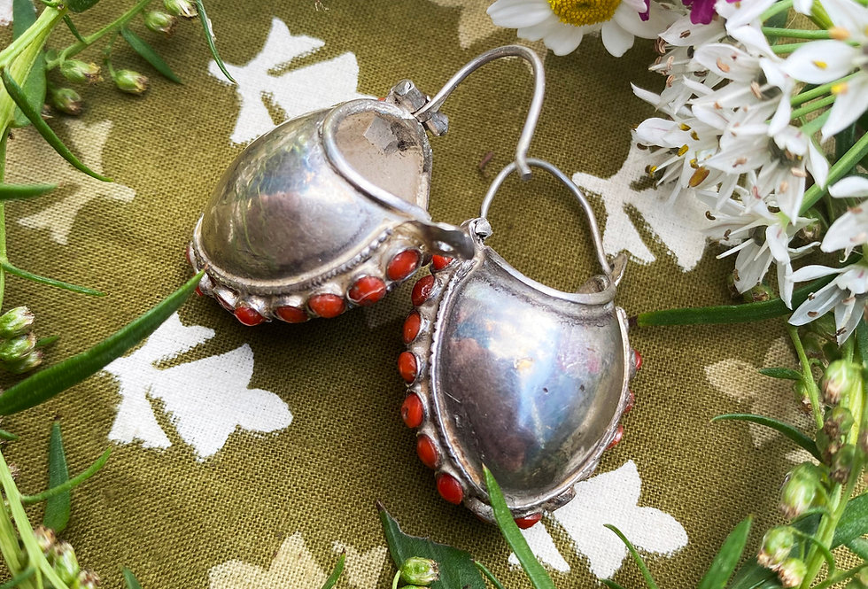 Tibetan Bucket Earrings - Coral