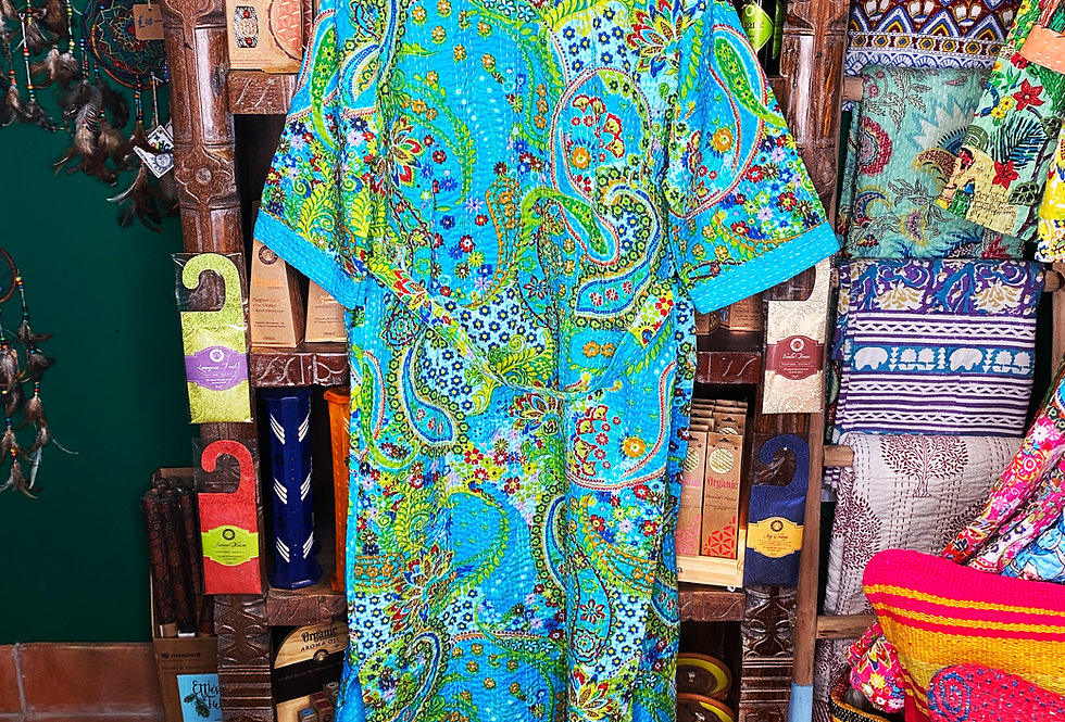 Handmade Kantha Robe - Blue Paisley