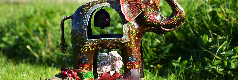 Hand Painted Iron Elephant With Bell