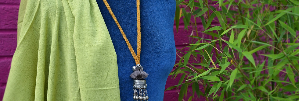 Temple Bell Pendant Necklace - Mustard