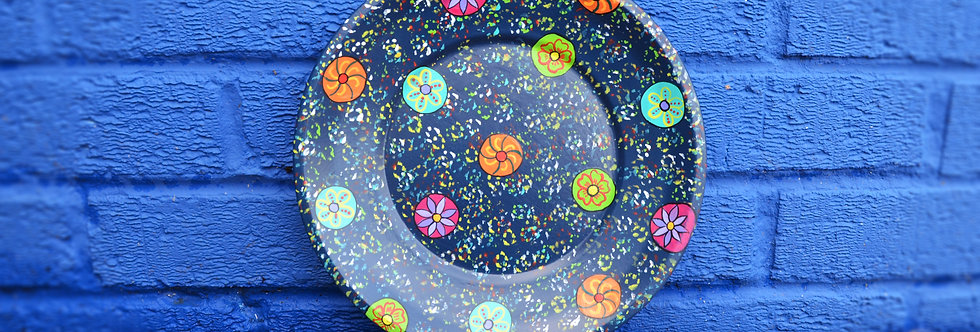 Painted Tin Plates - Blue