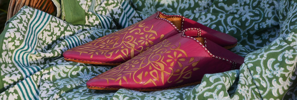 Moroccan Decorative Babouche Slippers Pink