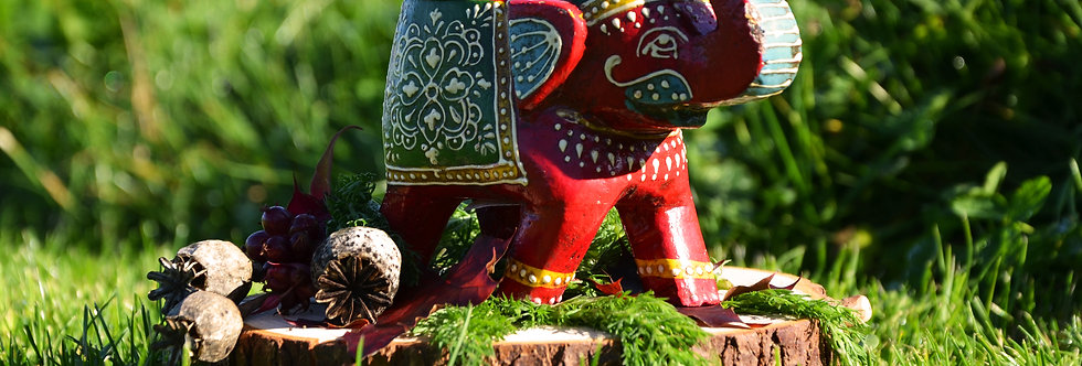 Hand Painted Indian Elephant Tealight Holder - Red