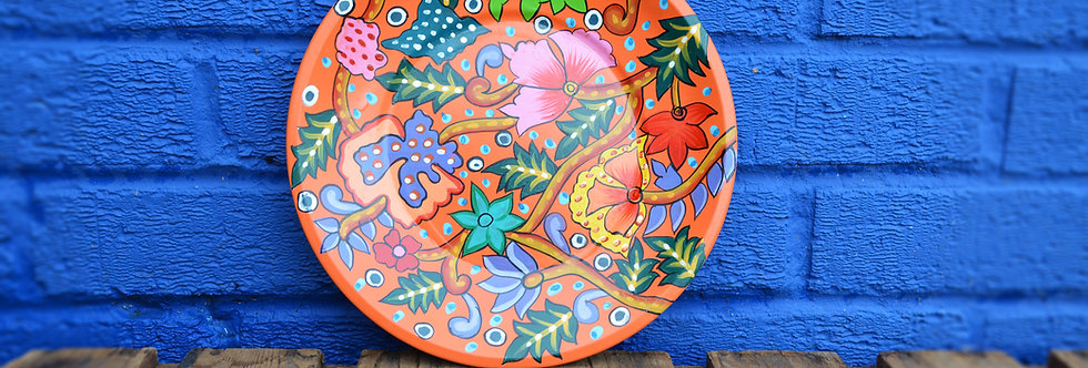 Painted Tin Plates - Orange