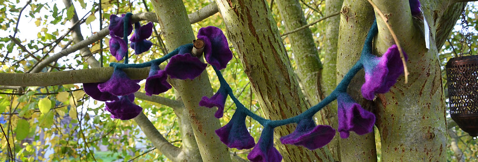Purple Felt Flower Garland