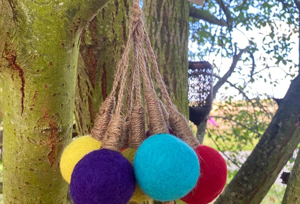 Handmade Felt Hanging Bulbs x 7