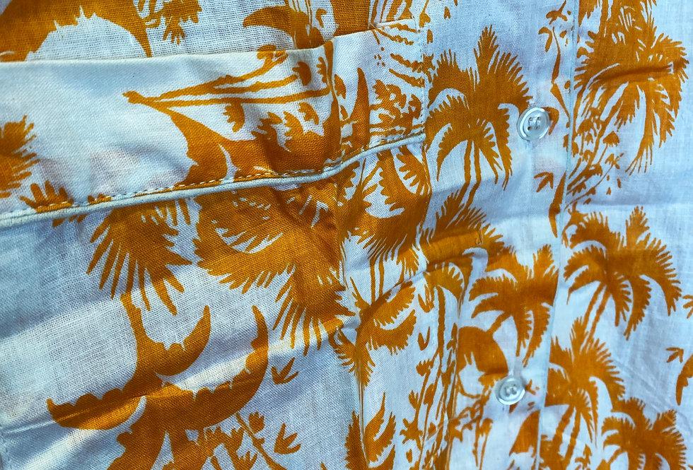Handmade Indian Pjs - White with Orange Print