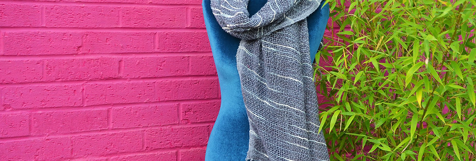 Hand Woven Scarf - Grey