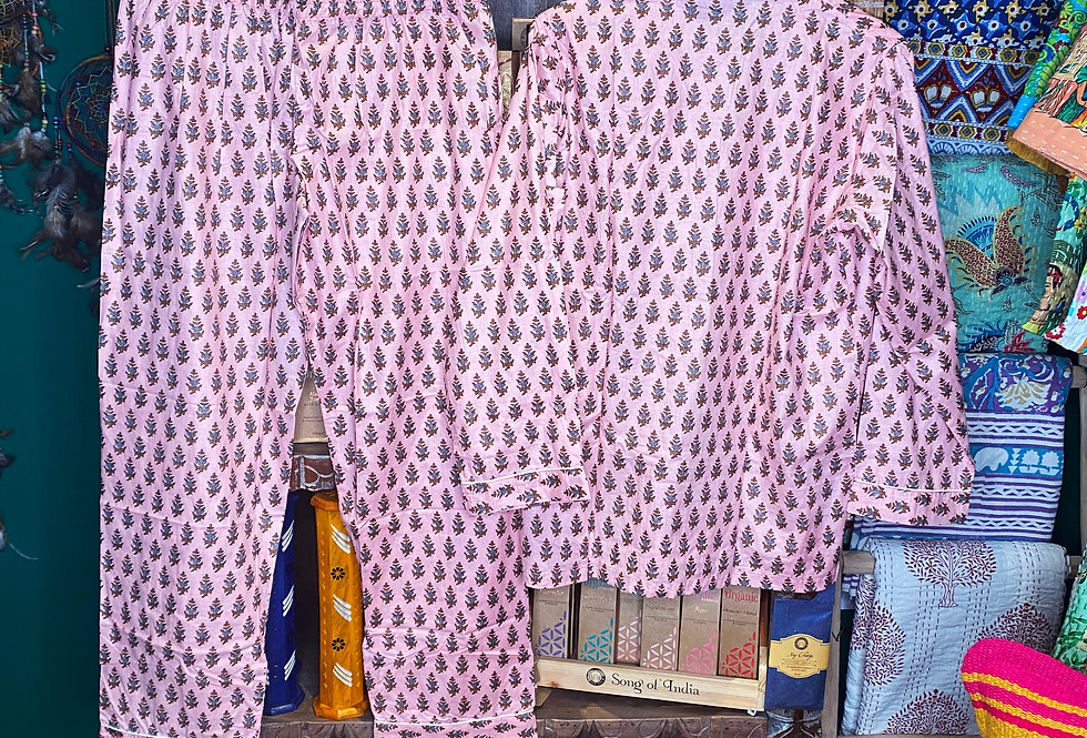 Handmade Indian Pjs - Baby pink with Pattern