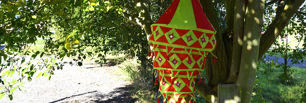 Fabric Lantern - Burgandy and Yellow