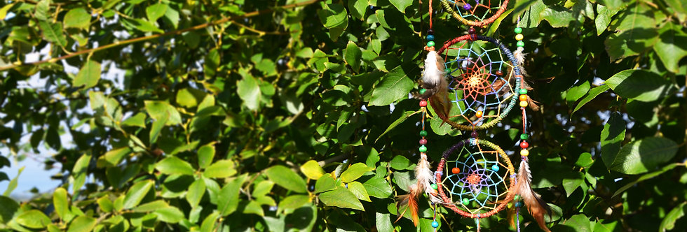 Hemp Three Loop Rainbow Dreamcatcher
