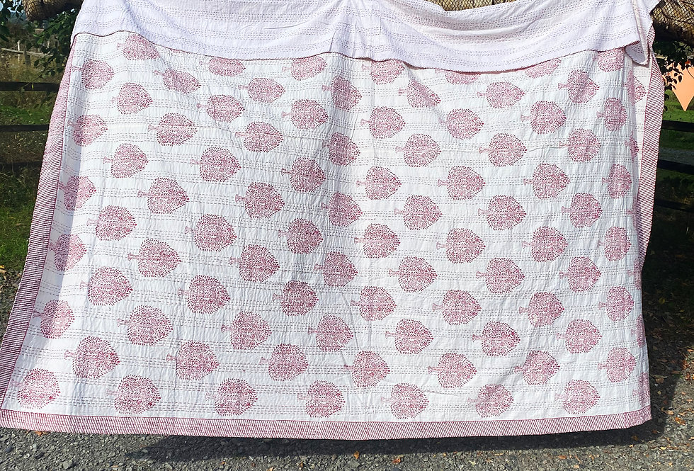 Handmade Indian Kantha Blanket - White with Red Trees