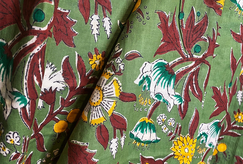 Handmade Indian Pjs - Green with yellow/brown