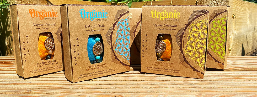 Scented bracelet & spray gift set, Organic Goodness - Orange