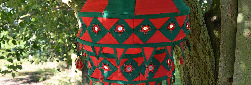 Fabric Lantern - Red and Dark Green