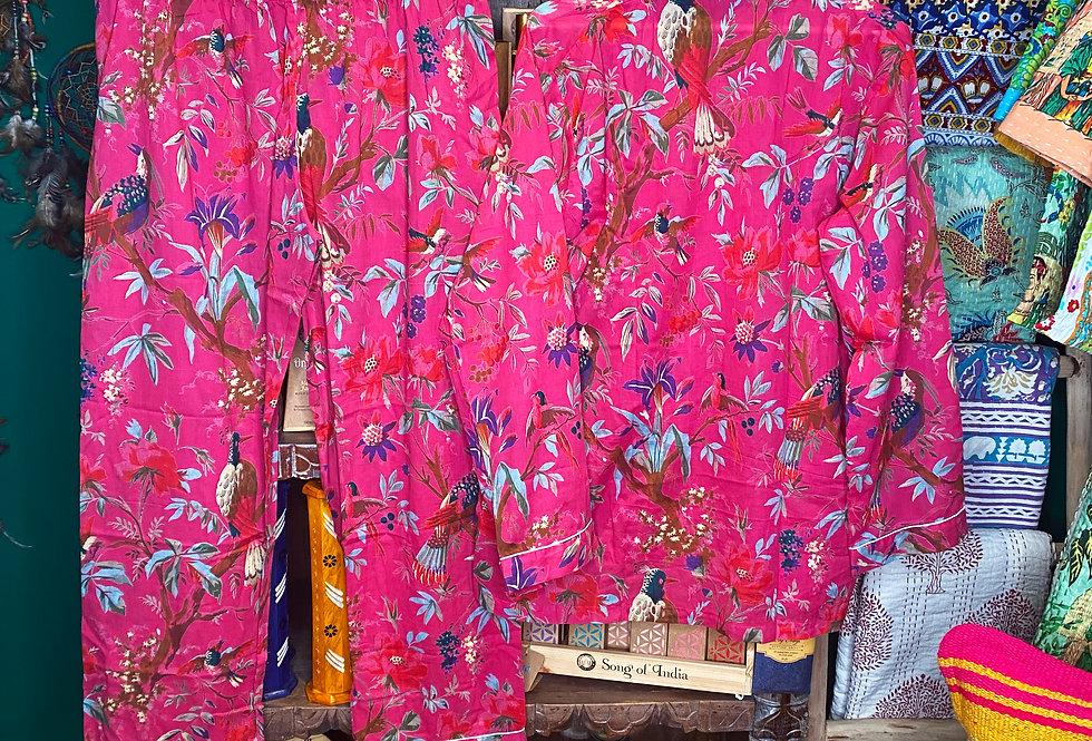 Handmade Indian Pjs - Pink with Flowers/Birds