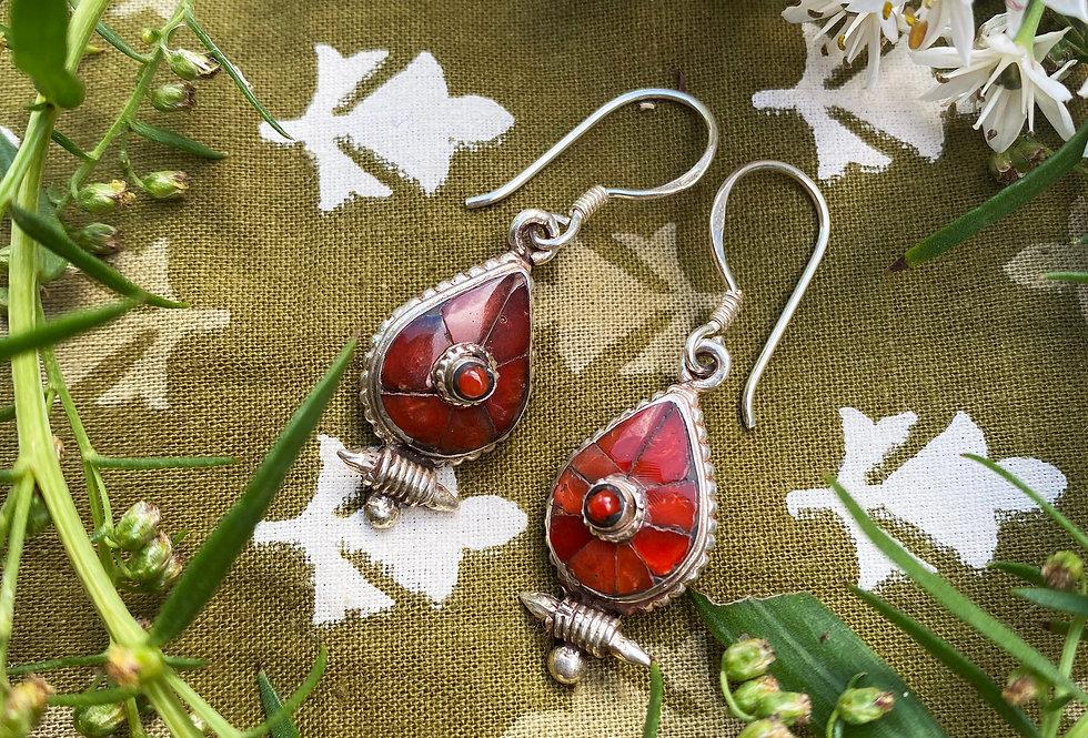 Tibetan Tear Shape Earrings - Coral