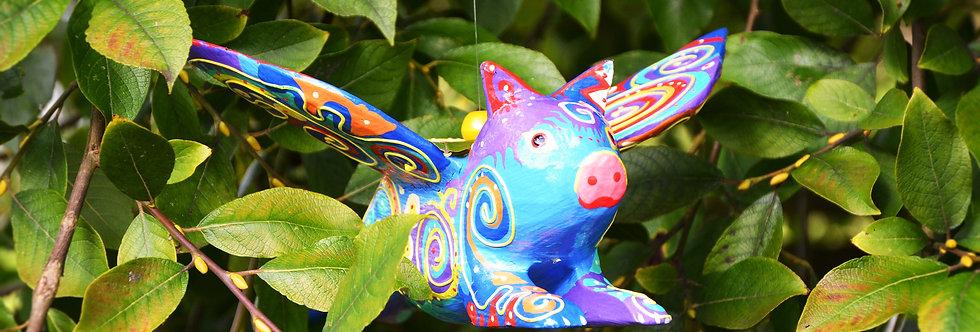 Hanging Flying Pig - Rainbow