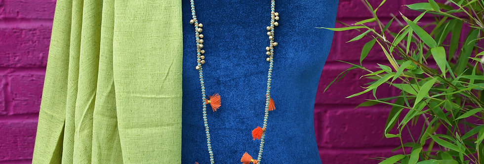 Bell and Tassel Necklace - Turquoise and Orange