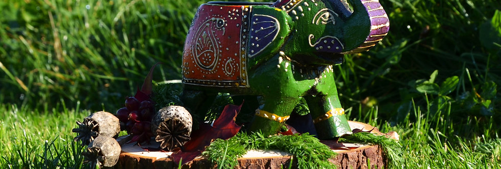 Hand Painted Indian Elephant Tealight Holder - Green