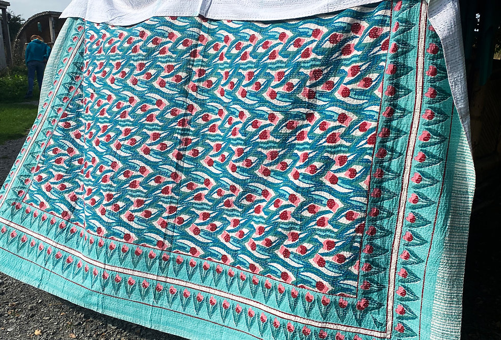 Handmade Kantha Blanket - Blue with Red Tulips