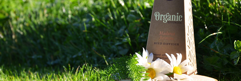 Reed stick diffuser, Organic Goodness, Madurai Jasmine, 100ml