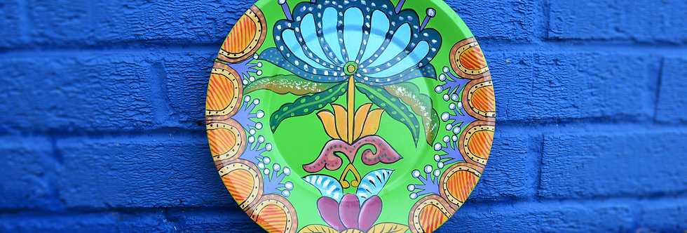 Painted Tin Plates - Green