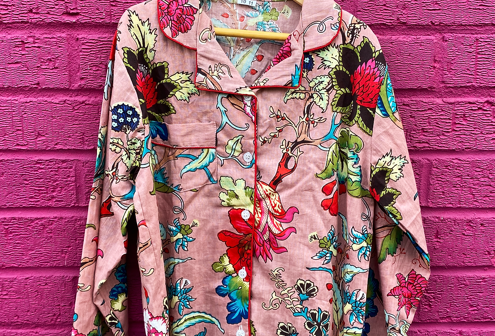 Kids indian Pjs - Pink with coloured flowers